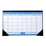 2020 Monthly Desk Pad Calendar, Blue and White, 17-3/4 x 10-7/8 (56440-20)