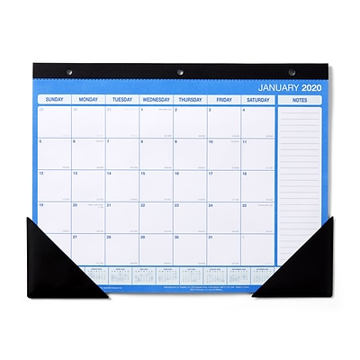 2020 Monthly Desk Pad Calendar, Blue and White, 11 x 8-1/2 (56442-20)