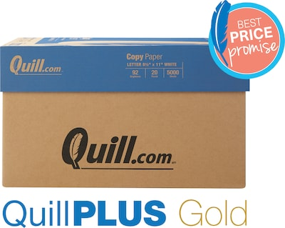 "QuillPLUS Quill Brand Copy Paper, 8 1/2"" x 11"", 92 Bright, 20 LB, 10 Reams of 500 Sheets"