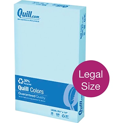 Quill Brand® 30% Recycled Multipurpose Paper, 20 lbs., 8.5 x 14, Blue, 500 sheets/Ream (720573)