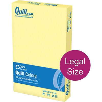 Quill Brand Colored Paper; 8-1/2x14, Legal Size, Canary Yellow, 500 sheets