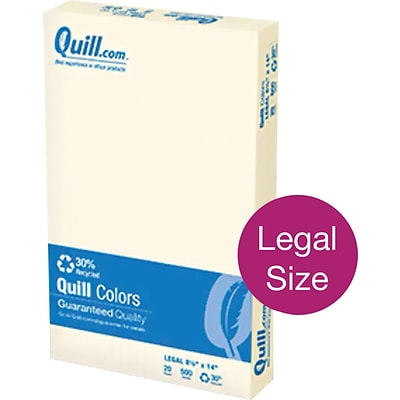 Quill Brand® 30% Recycled 8-1/2 x 14 Ivory Multipurpose Paper, 20 lbs., 500 sheets/RM (720583)