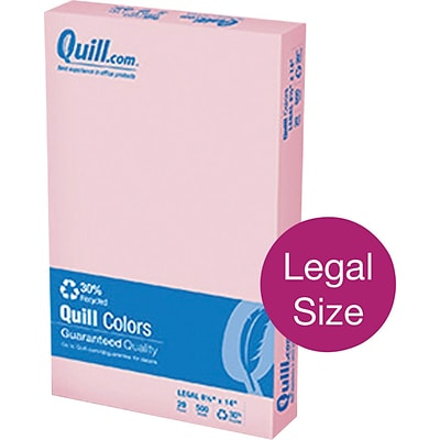Quill Brand® Colored Paper; 8-1/2x14, Legal Size, Pink