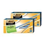 BOGO BIC Round Stic Xtra Life Ballpoint Pens, Medium Point (1.0mm), Blue, Dozen (GSM11BE)