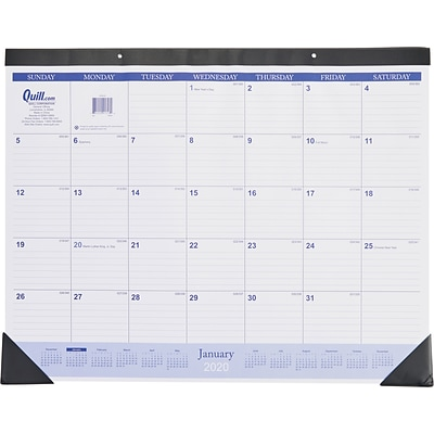 2020 Quill Brand® 19 x 24 Monthly Desk Pad Calendar, Black (52164-20)