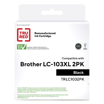 TRU RED™ Brother LC103BK (LC1032PKS) Black Remanufactured High Yield Ink Cartridges, 2/Pack