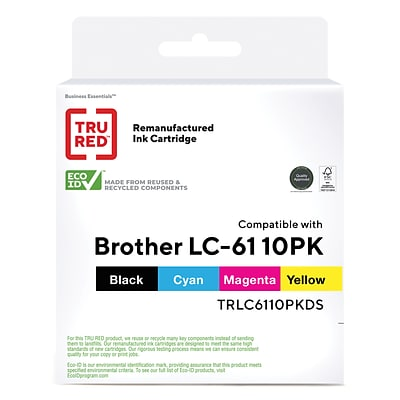 TRU RED™ Brother LC61 (LC6110PK) Black/Cyan/Magenta/Yellow Remanufactured Standard Yield Ink Cartridges, 10/Pack