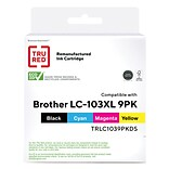 TRU RED™ Brother LC103XL (LC1039PK) Magenta/Black/Yellow/Cyan Remanufactured High Yield Ink Cartridg