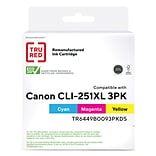 TRU RED™ Canon CLI-251C XL/251M XL/251Y XL (6449B009) Cyan/Yellow/Magenta Remanufactured High Yield
