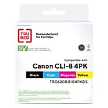 TRU RED™ Canon CLI-8 (0620B010) Black/Cyan/Magenta/Yellow Remanufactured Standard Yield Ink Cartridg