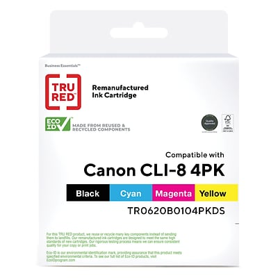 TRU RED™ Remanufactured Black/Color Standard Yield Ink Cartridge Replacement for Canon CLI-8 (0620B010), 4/Pack