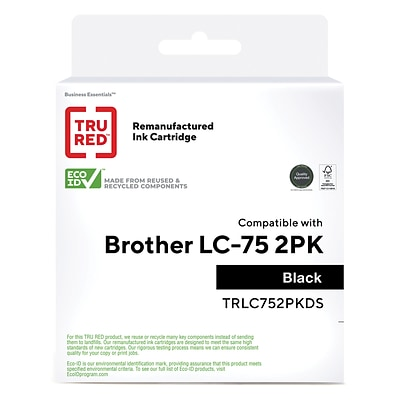 TRU RED™ Remanufactured Black High Yield Ink Cartridge Replacement for Brother LC75BK (LC752PKS), 2/Pack