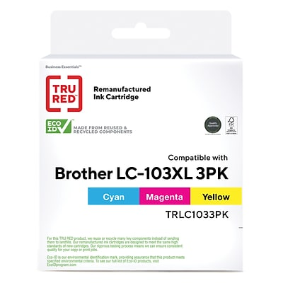 TRU RED? Brother LC103CL (LC1033PKS) Cyan/Magenta/Yellow Remanufactured High Yield Ink Cartridges, 3/Pack