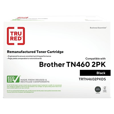 TRU RED™ Brother (TN-460) Black Remanufactured High Yield Toner Cartridges, 2/Pack