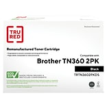 TRU RED? Brother 360 (TN-3602PK) Black Remanufactured High Yield Toner Cartridges, 2/Pack