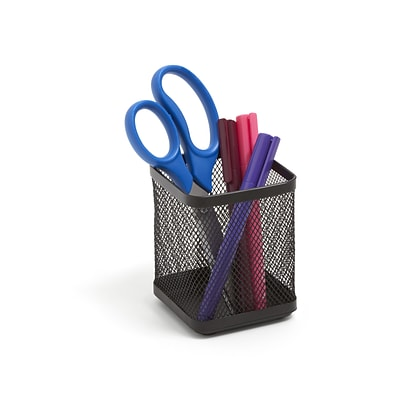 TRU RED™ Stackable Wire Mesh Regular Pencil Holder, Matte Black (TR57575)