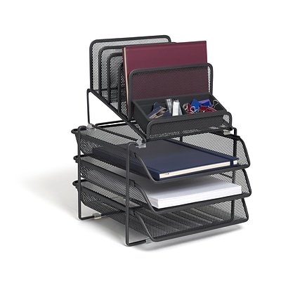 TRU RED™ All-In-One 10 Compartment Wire Mesh Compartment Storage, Matte Black (TR57530)