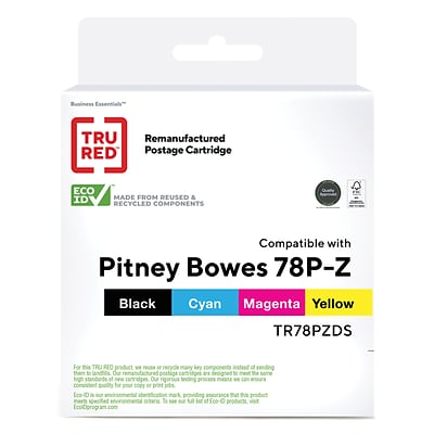 TRU RED™ Remanufactured Black/Cyan/Magenta/Yellow Standard Postage Ink Cartridge Replacement for Pitney Bowes 78P-Z, 4/Pack