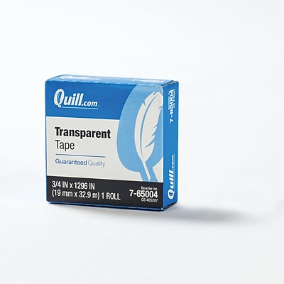 Quill Brand® Transparent Tape, Glossy Finish, 3/4 x 36 yds., Single Roll (70016043815)