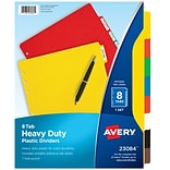 Avery Heavy Duty Blank Plastic Dividers, 8-Tab, Multicolor (23084)