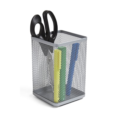 TRU RED™ Stackable Wire Mesh Jumbo Pencil Holder, Silver (TR57574)