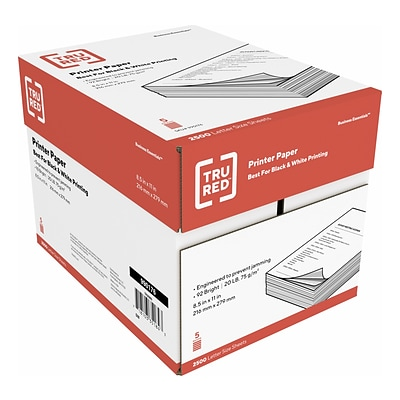 TRU RED™ 8.5 x 11 Copy Paper, 20 lbs., 92 Brightness, 500 Sheets/Ream, 5 Reams/Carton (TR56960)
