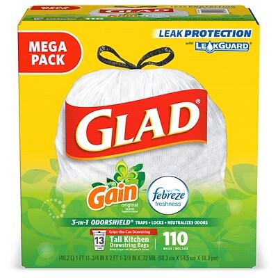 Glad OdorShield Gain with Febreze 13 gal. Tall Kitchen Trash Bags, .72  mil., 25.75\