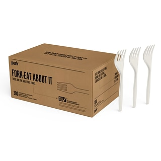 Perk™ Compostable Plastic Fork, Medium-Weight, White, 300/Pack (PK56201)