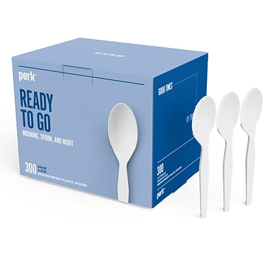 Perk™ Plastic Spoon, Medium-Weight, White, 300/Pack (PK56400)