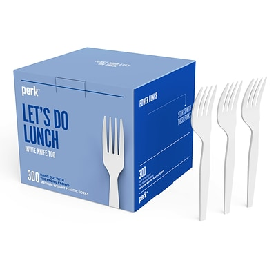 Perk™ Plastic Fork, Medium-Weight, White, 300/Pack (PK56401)