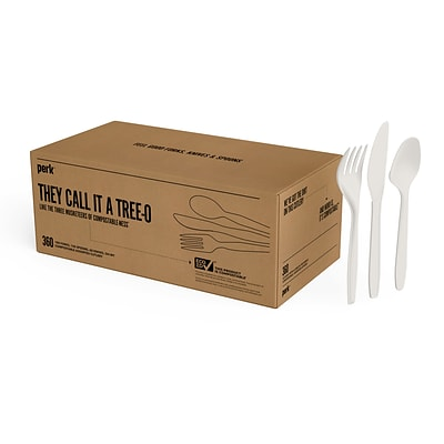 Perk™ Compostable Plastic Assorted Cutlery, Medium-Weight, White, 360/Pack (PK56205)