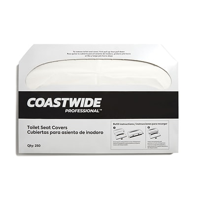 Coastwide Professional™ Toilet Seat Covers, 0.87 x 10.43, 250/Pack, 10 Packs/Carton (CW24776)