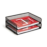 TRU RED? Side Load Stackable Metal Letter Tray, Matte Black, 2/Pack (TR57563)