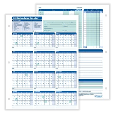 ComplyRight™ 2020 Attendance Calendar Card, White, Pack of 50 (A4000W50)