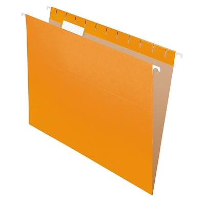 Pendaflex® Recycled Hanging File Folders, 1/5 Tab, Letter Size, Orange, 25/Box (81607)
