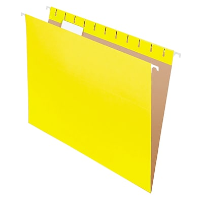 Pendaflex® Recycled Hanging File Folders, 1/5 Tab, Letter Size, Yellow, 25/Box (81606)