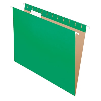 Pendaflex® Recycled Hanging File Folders, 1/5 Tab, Letter Size, Bright Green, 25/Box (81610)