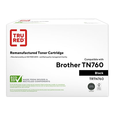 TRU RED™ Brother (TN760) Black Remanufactured High Yield Toner Cartridge
