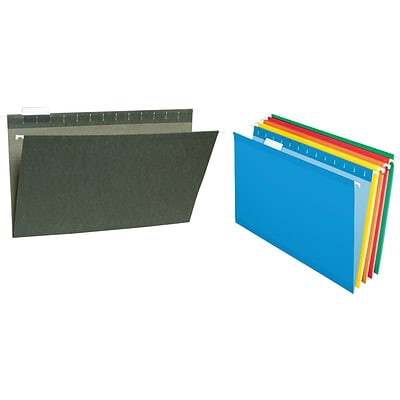 Quill Brand® Standard Green and Colored Hanging File Folders, 1/5-Cut Assorted Tabs, Legal Size