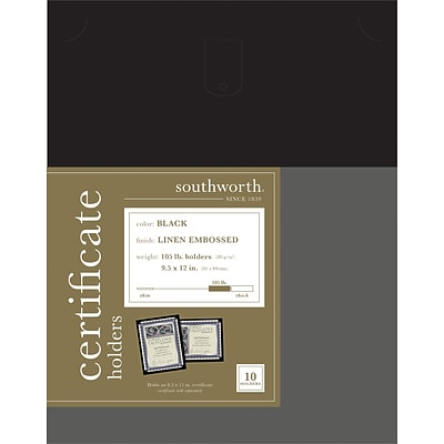 Southworth Linen Certificate Holders, Black, 10/Pack (PF18)