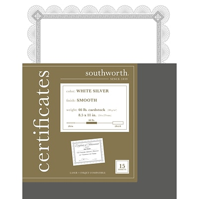 Southworth Premium Spiro Design 8.5 x 11 Certificates, White/Silver, 15/Pack (CTP2W)