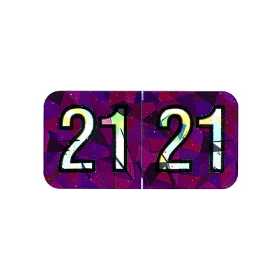 Medical Arts Press Holographic End-Tab Year Labels, 2021, Violet, 500/Roll