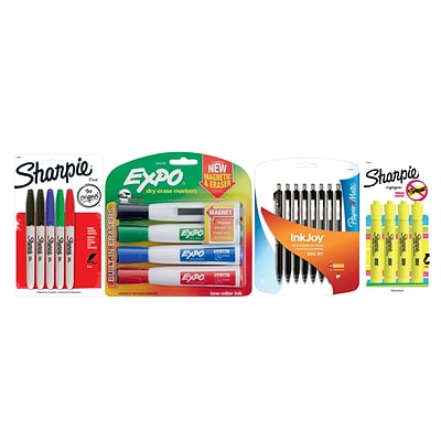 Sharpie® Permanent Marker, Dry Erase Marker, Ballpoint Pen and Highlighter Bundle