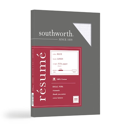 "Southworth Linen Resume 100% Recycled 8.5"" x 11"" Multipurpose Paper, 32 Lbs., 100 Brightness (RD18BCFLN)"