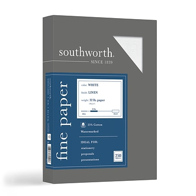 Southworth 8.5 x 11 Business Paper, 32 Lbs., Linen, 250/Box (J558C)