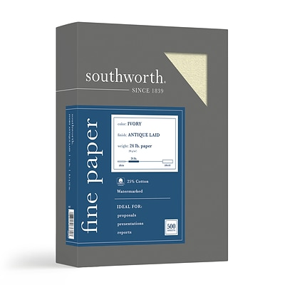 Southworth Antique Laid ID Paper, 24 lbs., 8.5 x 11, Ivory, 500/Ream (464C)
