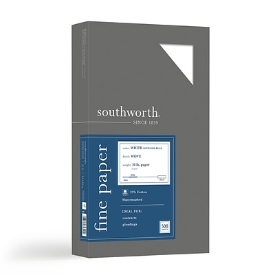 Southworth® 25% Cotton-Content Fine Business Paper, Legal Size, 20lb., Red Ruled, 500 Sheets/Box (403ER)
