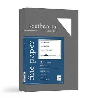 Southworth 8.5W x 11L Laser Paper, 24 lbs., 95 Brightness, 500/Box (31-724-10)