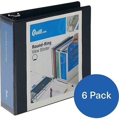 Buy 5 Quill Brand® 3 inch, Round Ring, View Binder, Black, Get 1 FREE (CD97223BK)