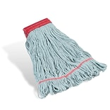Coastwide Professional™ Looped-End Wet Mop Head, Large, Recycled PET/Cotton Blend, 5 Headband, Blue